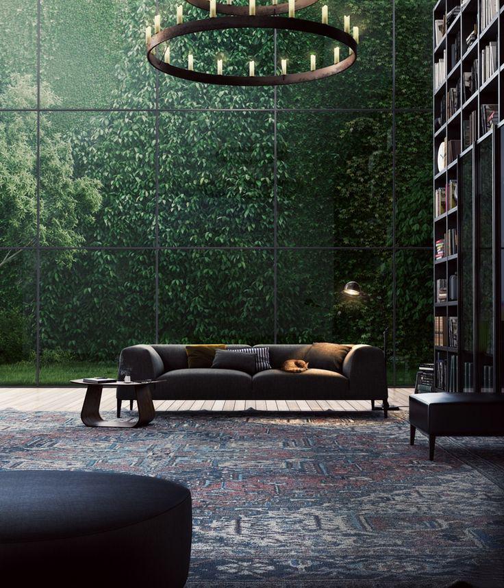 design interior perete sticla gradina