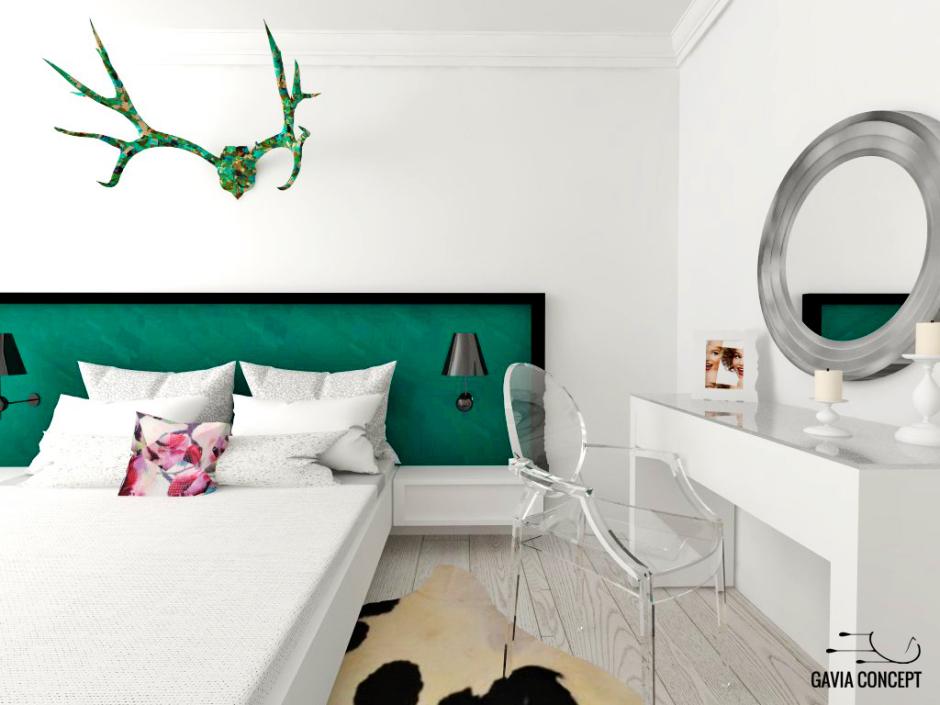 design interior dormitor modern verde smarald