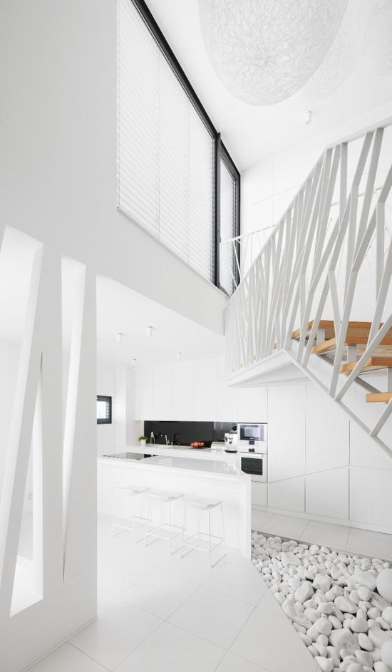 balustrada alba scari lemn masiv stil minimalist