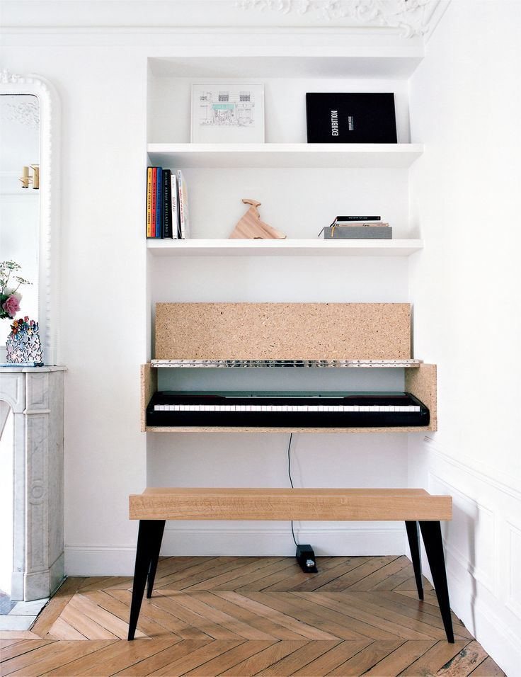 design interior alb birou pluta pardoseala lemn