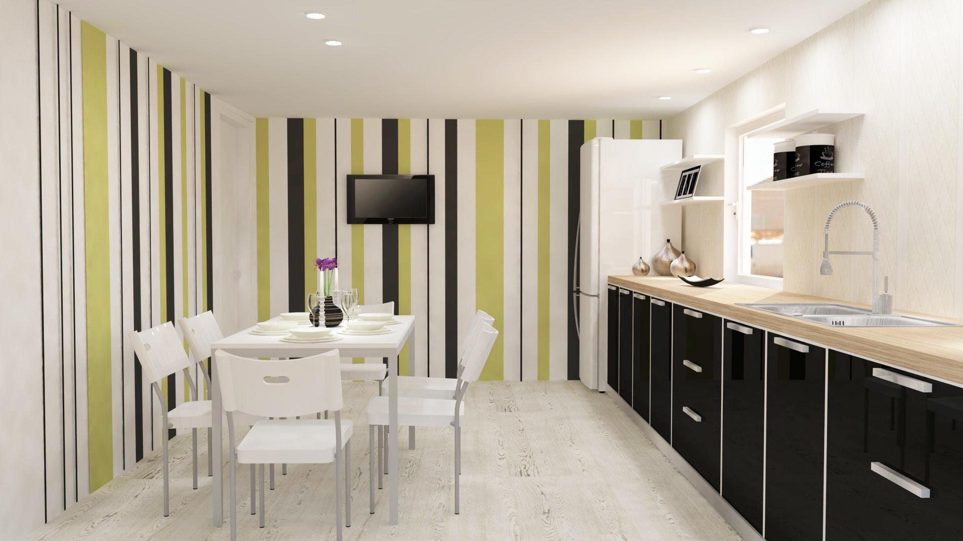 design interior mobila bucatarie dungi verticale, mobila moderna