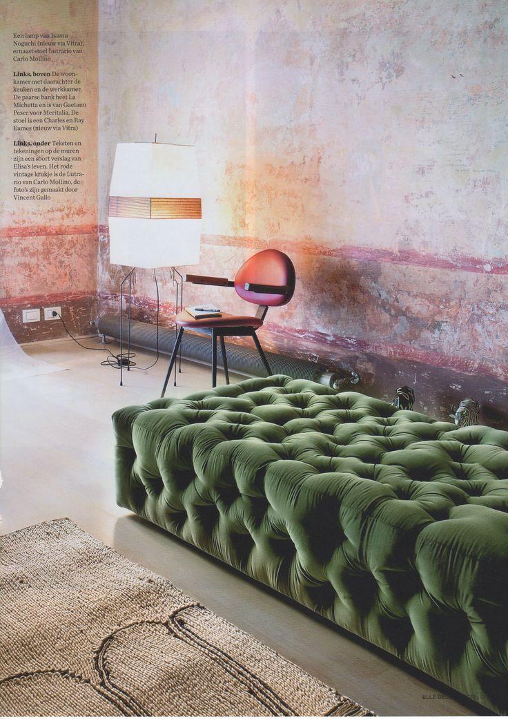 design interior catifea verde pereti colorati