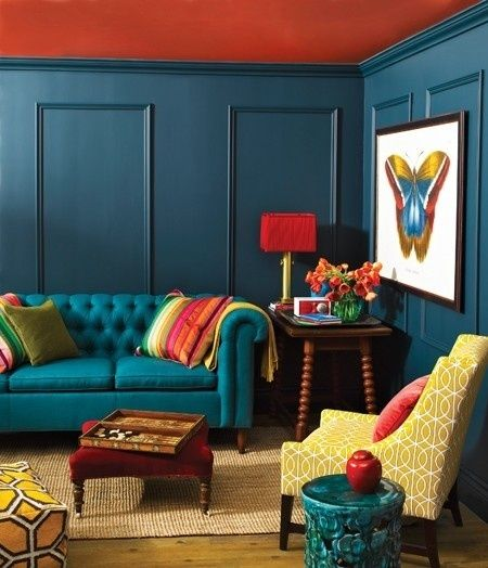 paint your home design interior living albastru si rosu