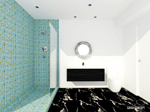design interior baie dus marmura neagra