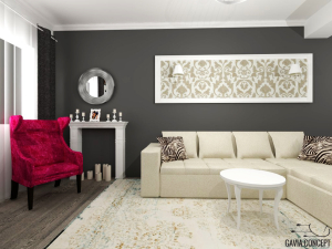 design interior living semineu decorativ lumanari