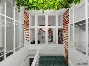 design interior intrare vestibul plante verzi caramida structura metalica