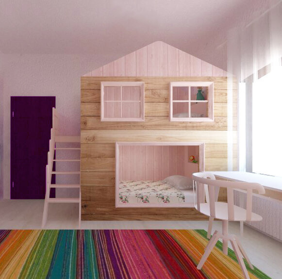 1 camera fetite paturi suprapuse roz bej curcubeu