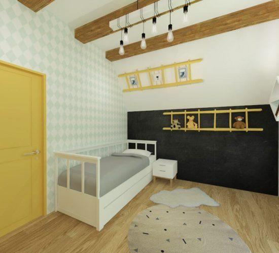 camera baiat in stil scandinav minimalist colorat functional