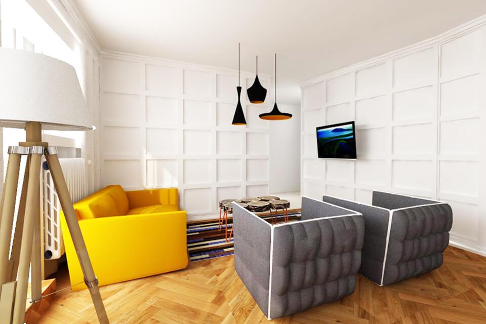 apartament modern design interior gri galben
