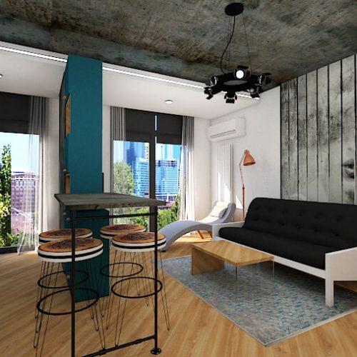 apartament 2 camere Floreasca gri beton bar bleu industrial
