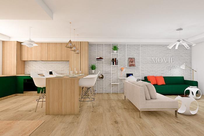 apartament 3 camere cosmopolis lemn, negru verde baie living bucatarie