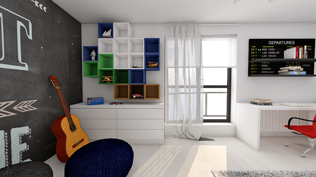 camera baiat calatorii albastru decor ahrta
