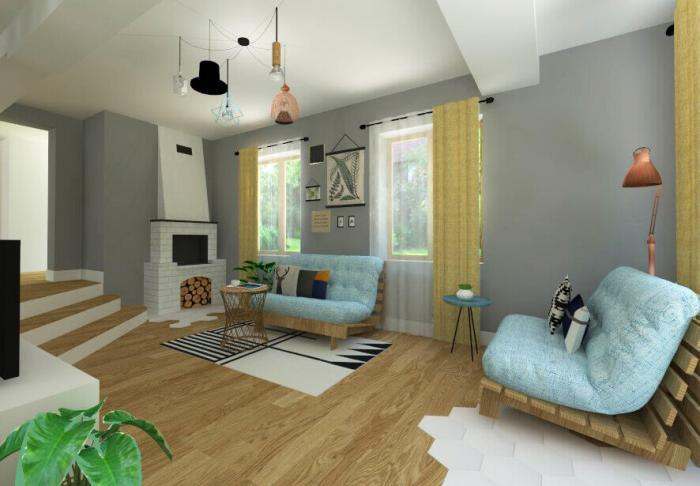 Design interior casa rezidential brasov tonuri neutre culori tari hol baie dormitor camera copil mansarda