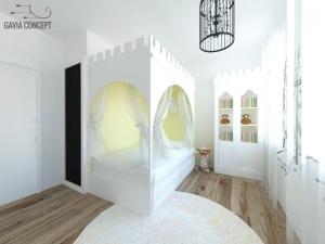 Design camera fetita alb pat castel