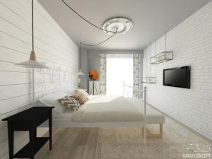design interior dormitor caramida alba