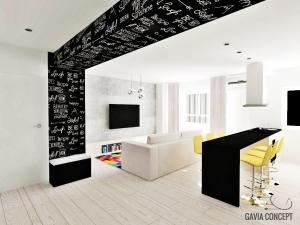 design interior living cu bucatarie vopsea tabla de scris