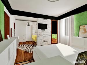 design interior dormitor matrimonial tapet ziar
