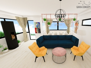 amenajare livingroom culoare mustar