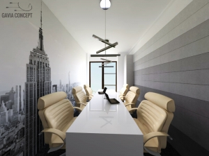 Amenajare meetingroom metal tapet gri alb