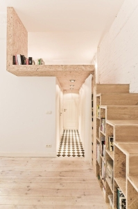 amenajari interioare scari biblioteca cu depozitare