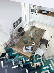 design interior parchet degradee turquoise