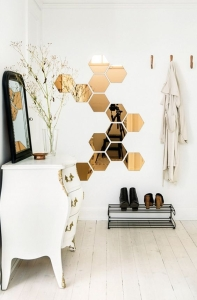 oglinda perete hexagom