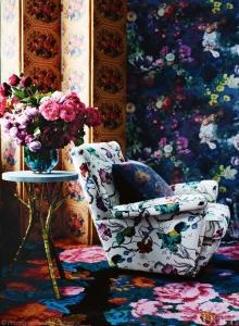 tapet floral, fotoliu textil imprimeu floral